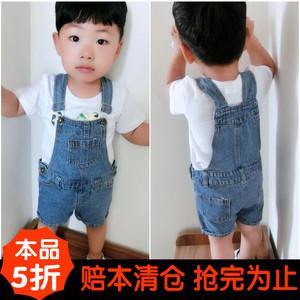夏款母子装母女装1-4岁小童男女宝宝背带裤背带裙 儿童牛仔短裤