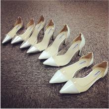 查看2015秋欧美白色浅口细跟高跟鞋尖头透明拼接平底平跟单鞋伴娘鞋