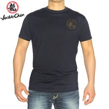 Jackie Chan/龙成龙大哥左前胸金色龙字印花男士圆领修身短袖T恤