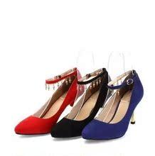 达芙妮秋新款金属色细跟水钻坠饰尖头低帮婚鞋单鞋女1013404088