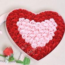 查看100朵玫瑰香皂花蝴蝶结镶边高档粉爱心礼盒 比翼双飞