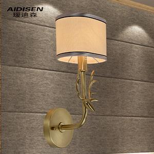 厅卧室书房餐厅布艺简约创意动物鹿过道单头灯价格:$488元-壁灯