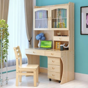 书柜带门带书桌人气排行 实木书桌带门电脑桌台式松木书桌书柜组合
