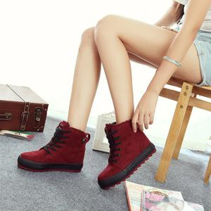 初中学生高帮厚底冬鞋二棉鞋少女孩韩版短靴冬季加绒雪地靴冬靴子