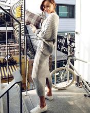 查看韩国代购秋冬季针织两件套半身裙2015秋冬新品长袖套头毛衣套装女
