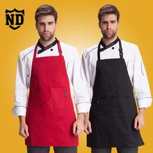 男式酒店厨师围裙防水挂脖防油厨房家居围裙咖啡厅西餐工作服围裙