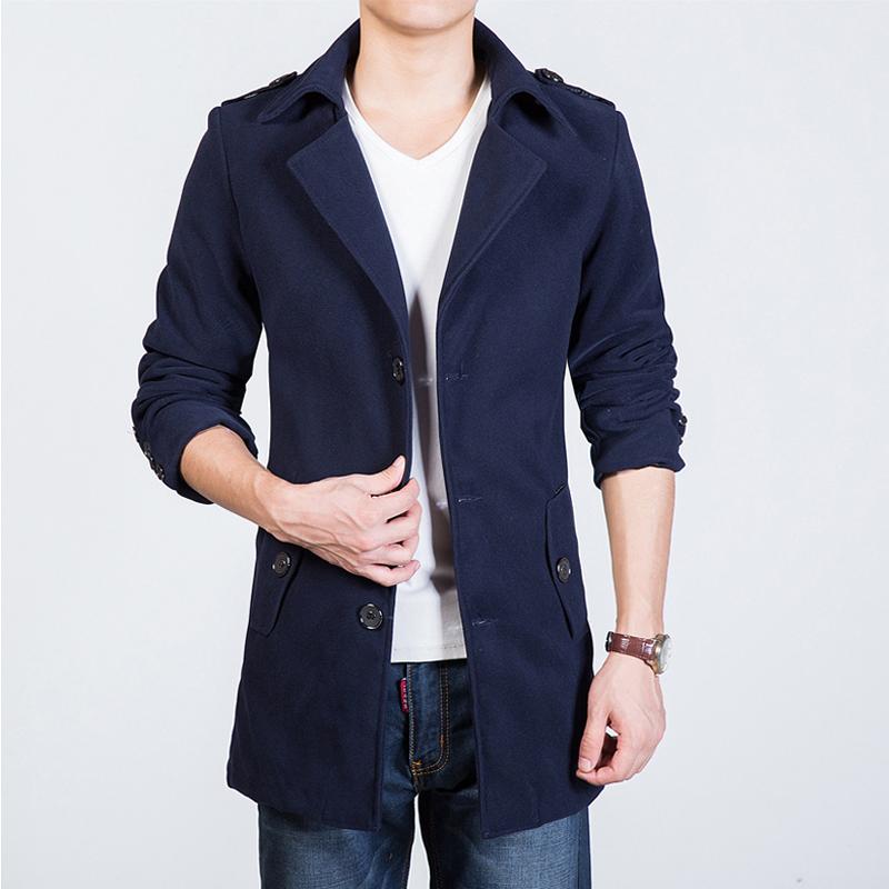 秋冬装男士风衣中长款韩版毛呢子大衣青年修身型衣服加厚外套男潮