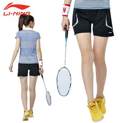 特价Lining/李宁羽毛球服女短裤夏透气健身运动服跑步短裤AAPJ116