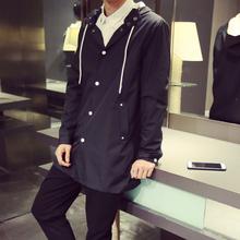 春秋季青少年学生中长款风衣外套薄款男士青年韩版修身型外衣纯色