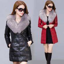 查看2015冬季皮衣女士PU真皮羽绒服女中长款显瘦加厚毛领皮衣皮草外套