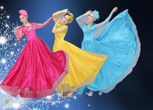 新款民族舞蹈服女装 亮片大合唱长裙 舞台服开场舞大摆裙演出服装