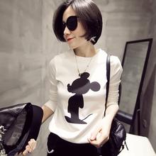 查看偶像丽人韩版大码女装t恤米奇卡通上衣新款秋季长袖t恤胖mm打底衫
