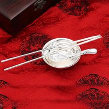 银碗 足银 银筷子银勺子纯银餐具特价宝宝儿童银碗筷套装