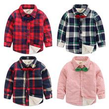 查看儿童加绒棉衬衫 领结款男童加厚衬衣童装2015款冬装 宝宝保暖上衣