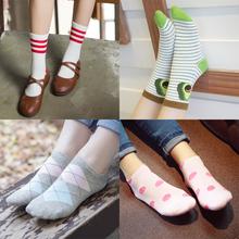 二杠女袜子秋夏季薄款短袜低腰中筒棉袜女士船袜可爱低帮日系可爱