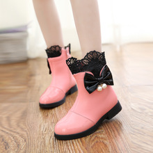 查看2015秋冬蕾丝童鞋女童靴子加绒黑红色儿童短靴公主皮靴中筒雪地靴