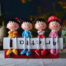 查看新品樱桃小丸子可爱卧室摆件树脂吊脚娃娃创意家居家装饰品工艺品