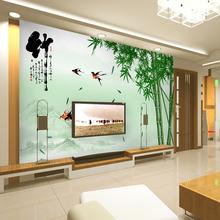 查看壁纸3d立体中式大型壁画客厅电视背景墙纸无纺布自粘无缝墙布竹子