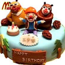 麦力康熊出没熊大二光头强天津北京翻糖生日蛋糕配送儿童创意定做