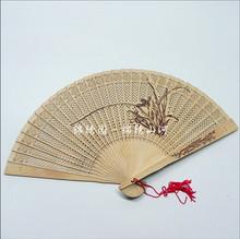 查看7寸缅香木扇檀香木扇子古风折扇 中国风女式镂空工艺扇女 带扇盒
