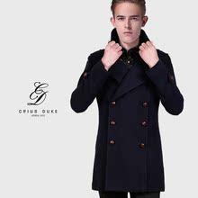 cr2017冬季新款羊毛呢大衣男韩版修身男士妮子大衣中长款呢子外套