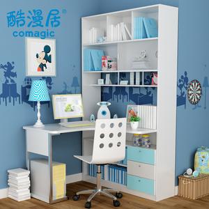 连体书桌柜电脑桌人气排行 纯实木转角台式电脑桌书柜连体书桌书架组