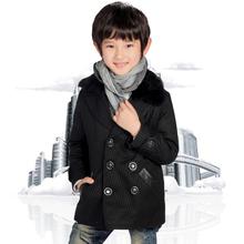 韩版潮童装宝贝帝童男童呢大衣2017中大儿童双排扣羊毛呢子毛外套