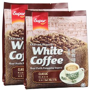 马来西亚进口超级炭烧经典原味三合一速溶白咖啡超浓600克x2袋