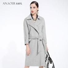 安素儿 2017新高端双面绒羊毛大衣女 腰带中长款欧美羊绒毛呢外套