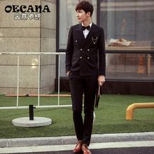 OECANA男士韩版休闲双排扣西装修身英伦小西服男白西服外套有套装