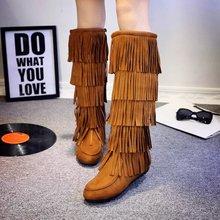 查看高筒靴女秋冬长靴圆头平底真皮流苏靴侧拉链雪地靴平跟中筒女靴子