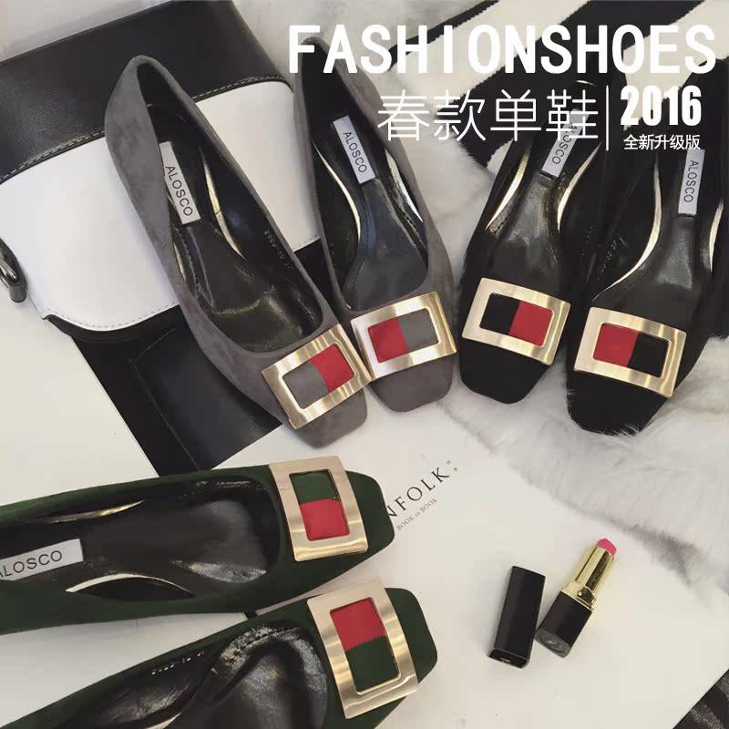 2016春新款小辣椒欧美风杂志大牌走秀款拼色方扣中跟方头女鞋单鞋
