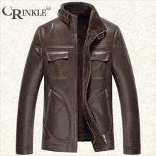 CRINKLE新款复古风时尚真皮皮衣男款裤多口袋都市皮毛一体皮衣男