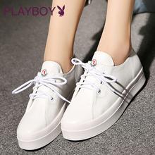 花花公子女鞋2017白色休闲鞋女秋厚底松糕鞋系带小白鞋学生鞋板鞋