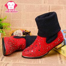 加奇猴哥2017秋冬新款女童皮靴儿童棉鞋棉靴韩版皮鞋单靴女童靴子