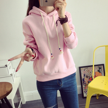 查看加绒加厚秋冬季韩版学生外套连帽女装长袖学院风套头卫衣女潮带帽