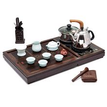汉唐实木茶盘 知然22件整套配景德镇瓷器 四合一功夫茶具套装特价