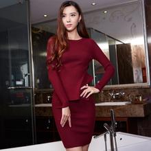 韩诗兰2015秋冬新款韩版时尚针织套装女弹力修身短裙两件套裙装潮