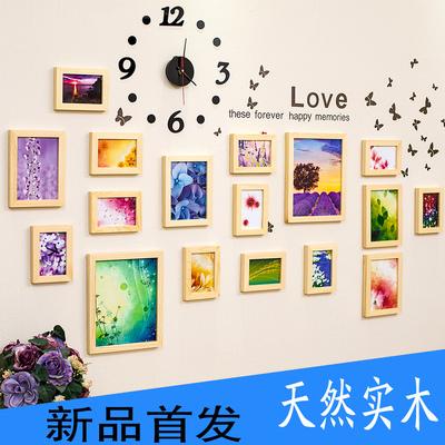 恒生 新款实木照片墙相框墙客厅卧室墙贴挂钟表17框多色混搭时尚