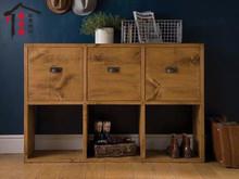查看北欧实木收纳柜文件柜 做旧抽屉柜斗柜简约现代复古厅柜墙角柜