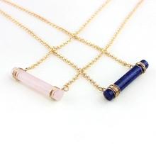 查看欧美饰品 天然蓝纹石、粉晶石 圆柱形项链 铜丝纯手工缠绕