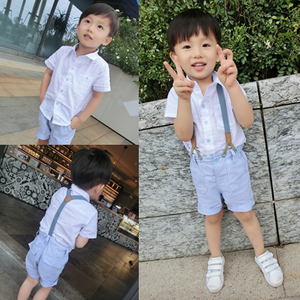 韩版童装 男童背带裤套装短裤夏款2015新款儿童套装宝宝短袖T恤夏