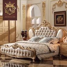 欧式双人床真皮床公主婚床法式奢华宫廷1.8米实木气动高箱香槟金