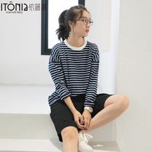 依藤娜 秋季新款条纹时尚外出哺乳衣 月子服喂奶衫纯棉上衣TC113