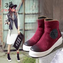 子藩2017秋冬新款全牛皮舒适平跟时尚拉链装饰短靴8023