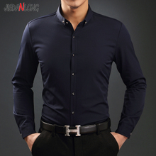 杰丹龙春秋新款男装韩版薄款纯色长袖男士衬衫 中年商务修身衬衣