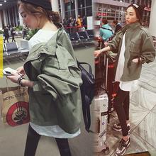 查看韩版时尚工装BF男友风宽松显瘦女士军绿色薄款休闲收腰风衣外套