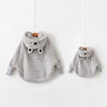查看【泡泡家】母女亲子装2015秋冬新女童超柔软毛绒卡通浣熊斗篷外套