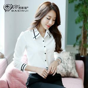 休闲雪纺白衬衫女长袖加绒秋冬加厚大码修身显瘦ol上衣打底衫衬衣