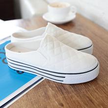 人本2017韩版女鞋潮一脚蹬小白鞋夏懒人休闲无后跟半拖板鞋帆布鞋